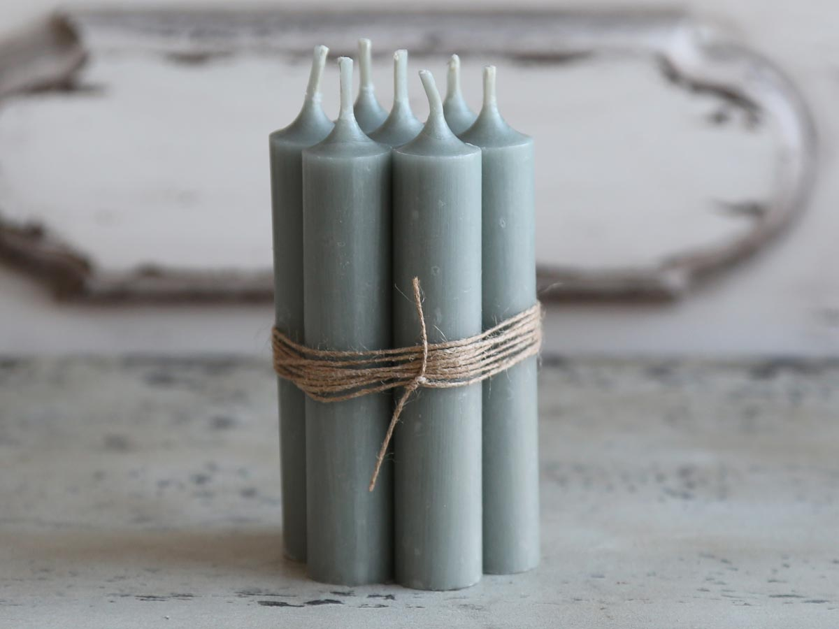 Short dinner candle - French grey