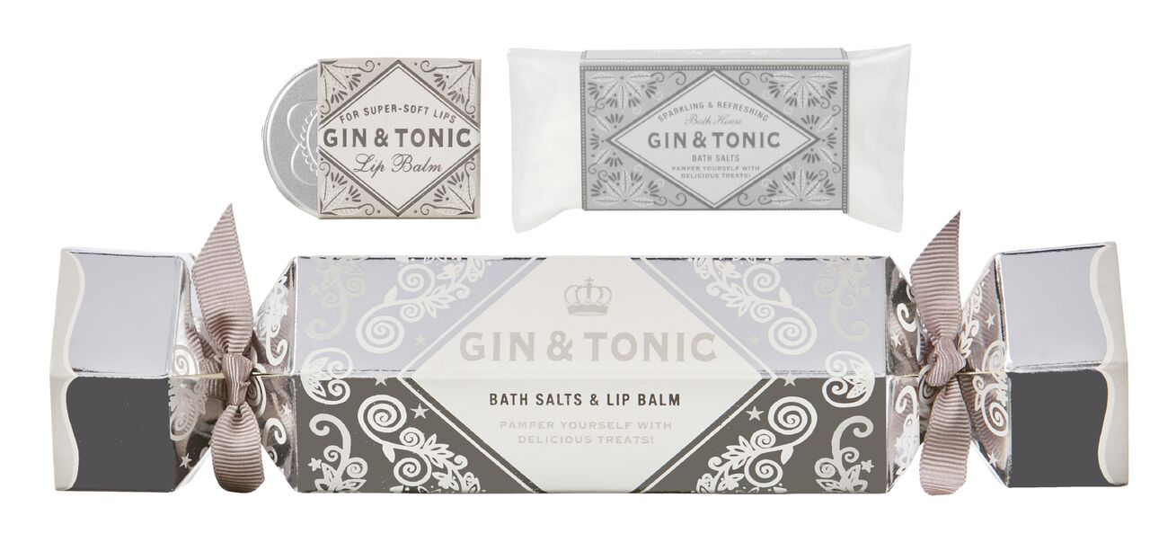Gin and Tonic bath salts and lip balm cracker set - made in the UK