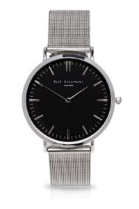 Elie Beaumont Large black face Oxford silver mesh watch