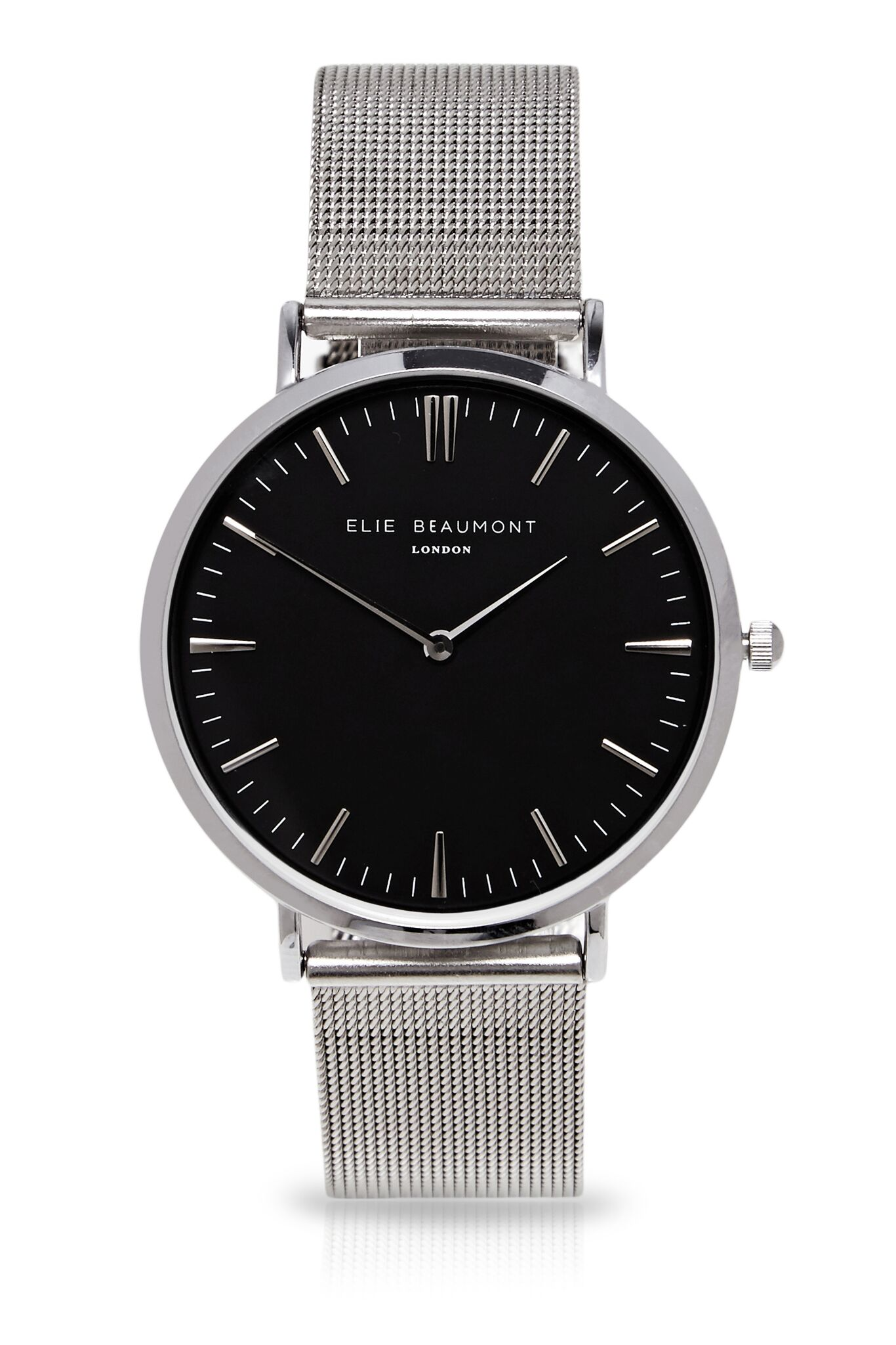 Elie Beaumont Large black face Oxford silver mesh watch