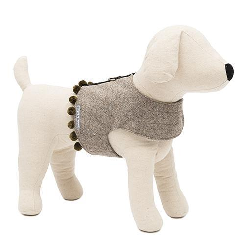 Mutts&Hounds - 'Grey Tweed Pompom Harness' Medium