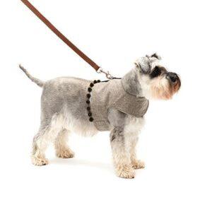 Mutts&Hounds - 'Grey Tweed Pompom Harness' Medium