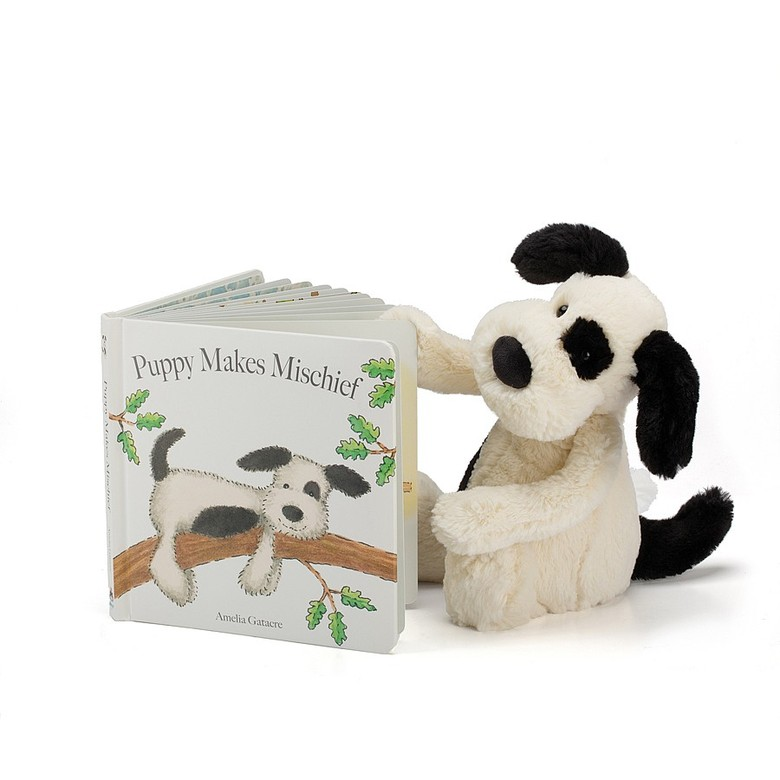 Jellycat-Puppy Makes Mischief book & Bashful Puppy Small (Sold Separately)