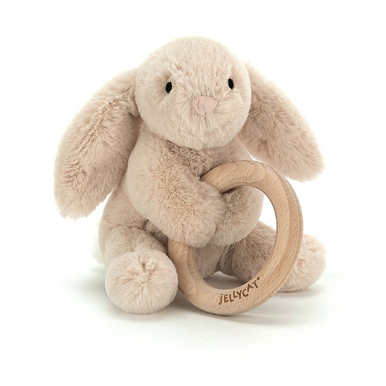 Jelly Cat Shooshu Bunny Wooden Ring Toy