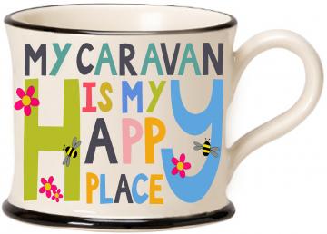 moorland pottery - my caravan is my happy place mug