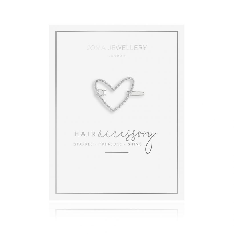 Joma- Hair Accessory Silver Pave Heart Clip