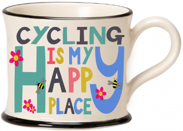 moorland pottery - cycling is my happy place mug