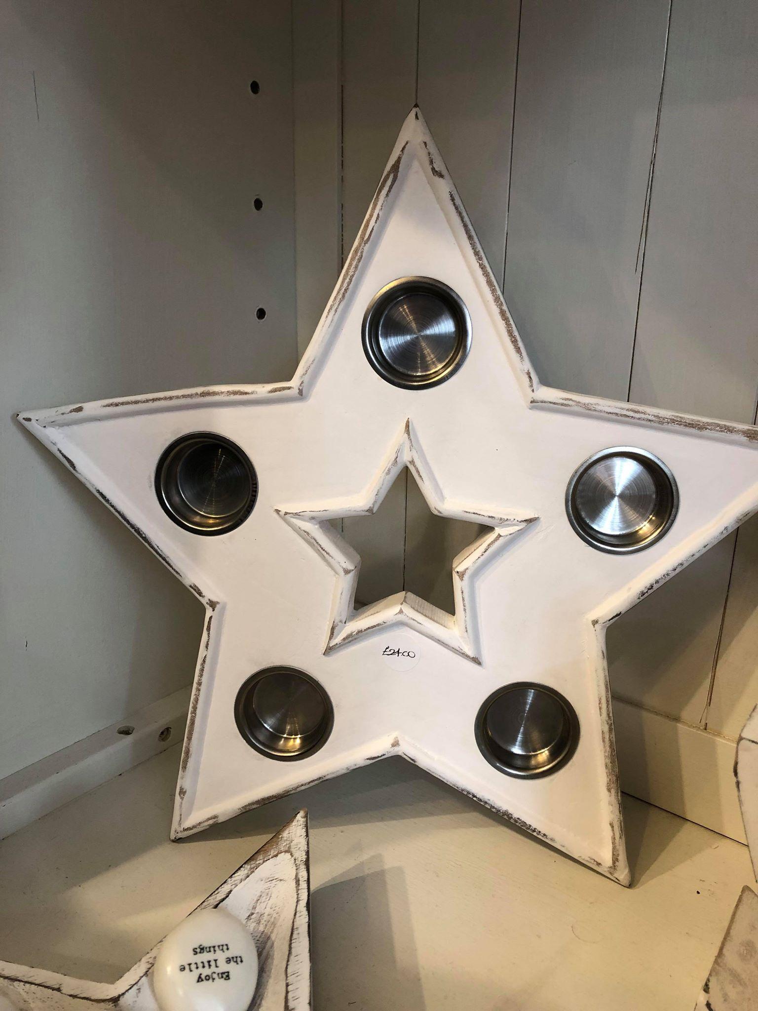 Retreat Star Multi T-Light Holder White