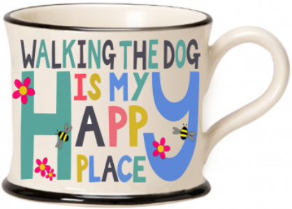 moorland pottery - walking the dog is my happy place mug