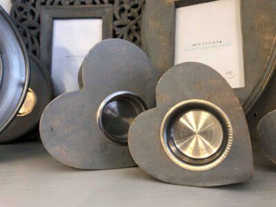 Retreat Mantelpiece Heart Tea Light Holder Grey Small