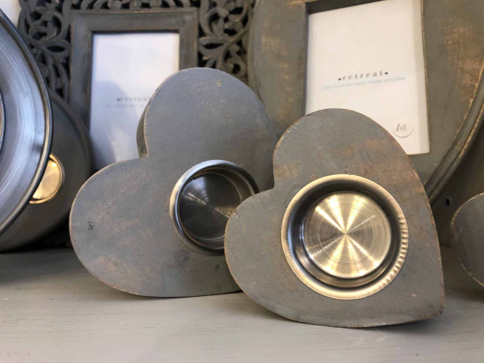 Retreat Mantelpiece Heart Tea Light Holder Grey Medium