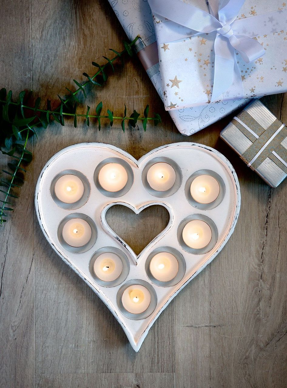 Retreat Heart Multi T-Light Holder White