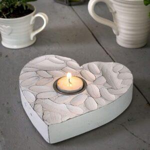 Retreat Fingerprint Heart Tea Light Holder White