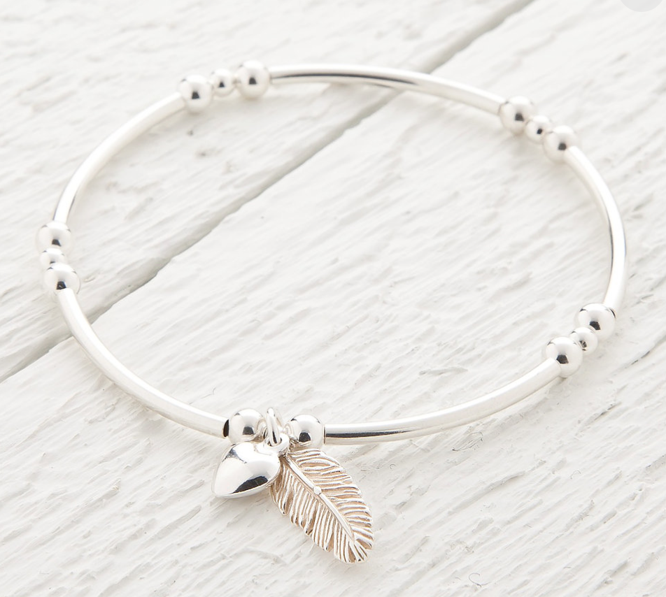 Lucy Bradshaw Sterling Silver La Plume Feather Silver Bangle