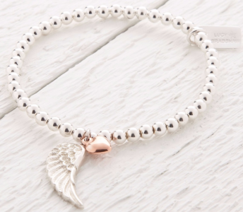 Lucy Bradshaw Parisa Sterling Silver & Rose Gold Angel Wing Bracelet