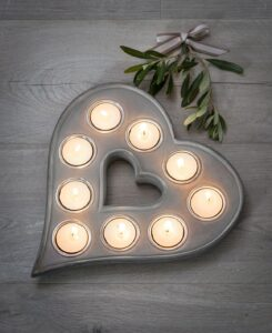 Retreat Heart Multi T-Light Holder Grey