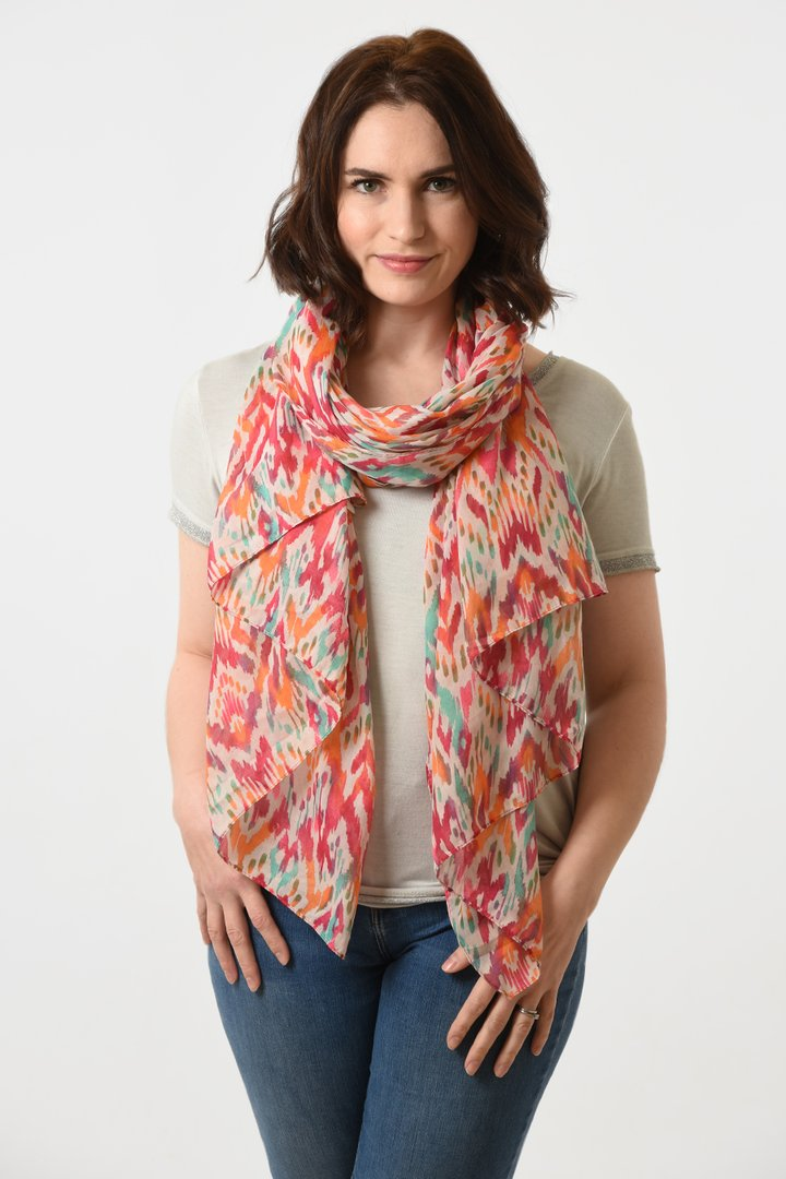 MSH - Fuchsia Orange Colourful Abstract Scarf