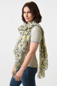 MSH - Grey Yellow Colourful Abstract Scarf