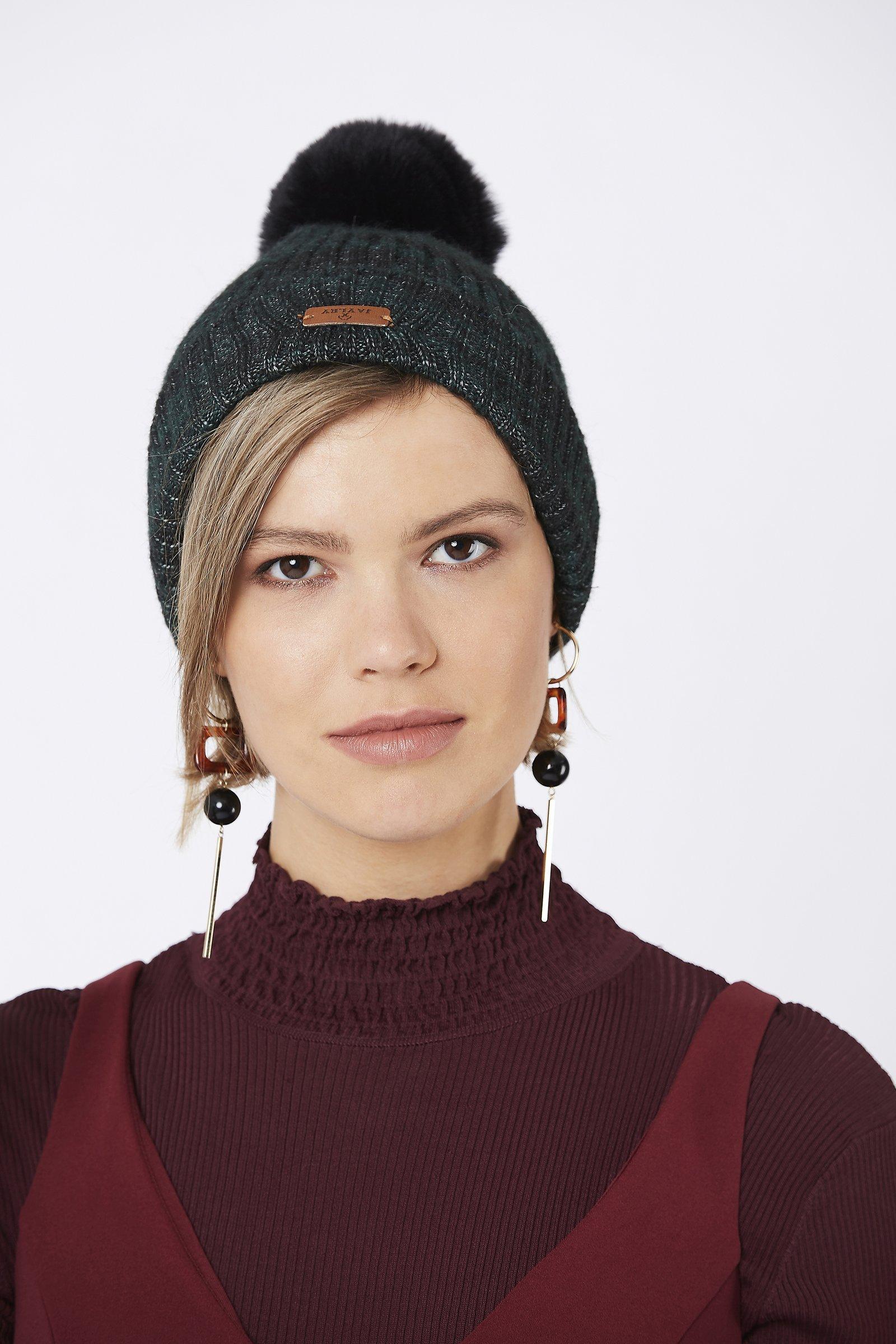 JayLey Wool and faux fur pom pom hat- dark green