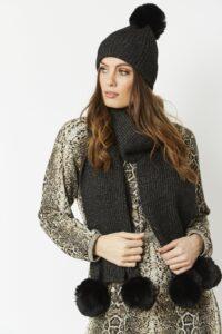 JayLey Wool and faux fur pom pom hat- black