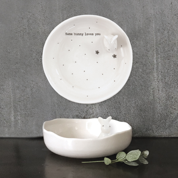 East of India Ceramic Bunny Dish 'Some Bunny Loves You'