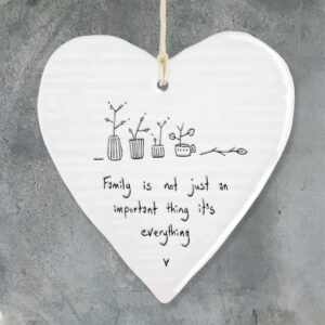 East of India Porcelain Heart Hanger Family is not just.....