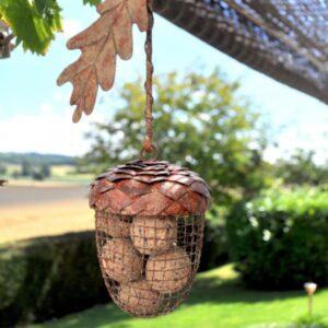 Adobe Rustic Metal Acorn Bird Feeder