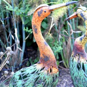 Adobe Coloured Metal Orange Necked Stork Garden Ornament 25x18x93cm