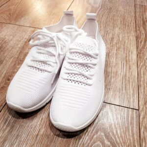 All White Fabric Trainer