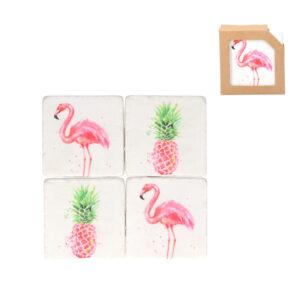 Gisela Graham Flamingo Coaster Set