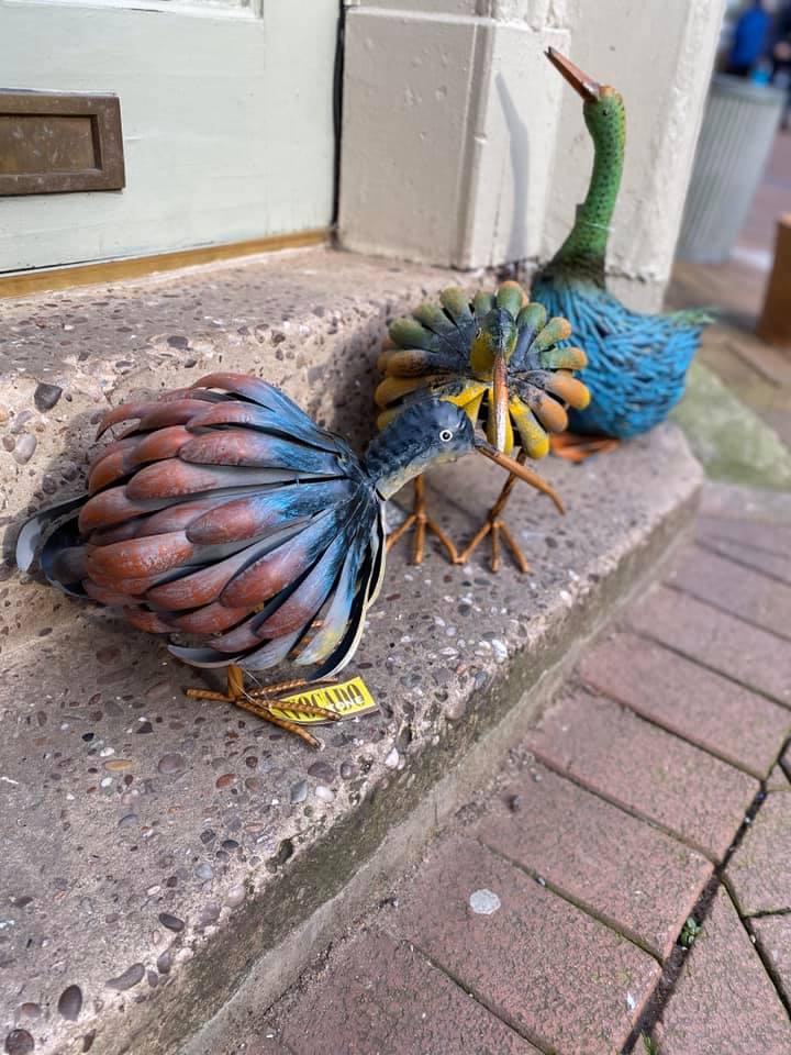 Adobe Metal Kiwi Bird Ornament - Blue Small 55x22x57cm