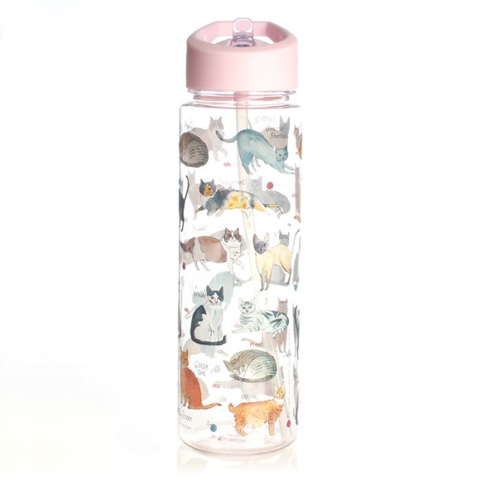 Milly Green Curious Cats Clear Water Bottle