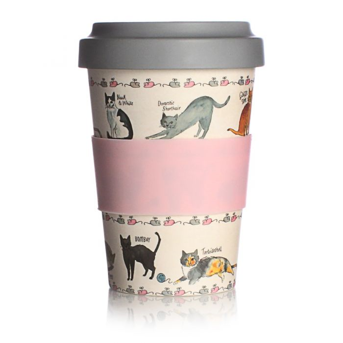 Milly Green Curious Cats Travel Mug Eco Bamboo Fibre 17oz