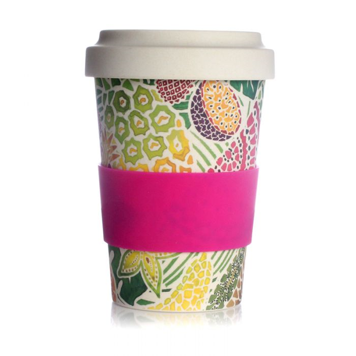 Milly Green Tropical Fruit Travel Mug Eco Bamboo Fibre 17oz