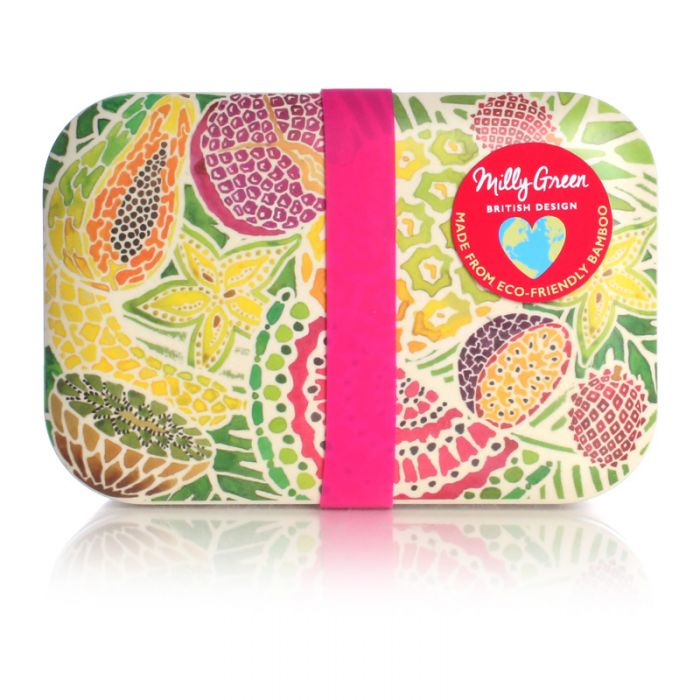 Milly Green Tropical Fruit Eco Bamboo Fibre Lunch Box