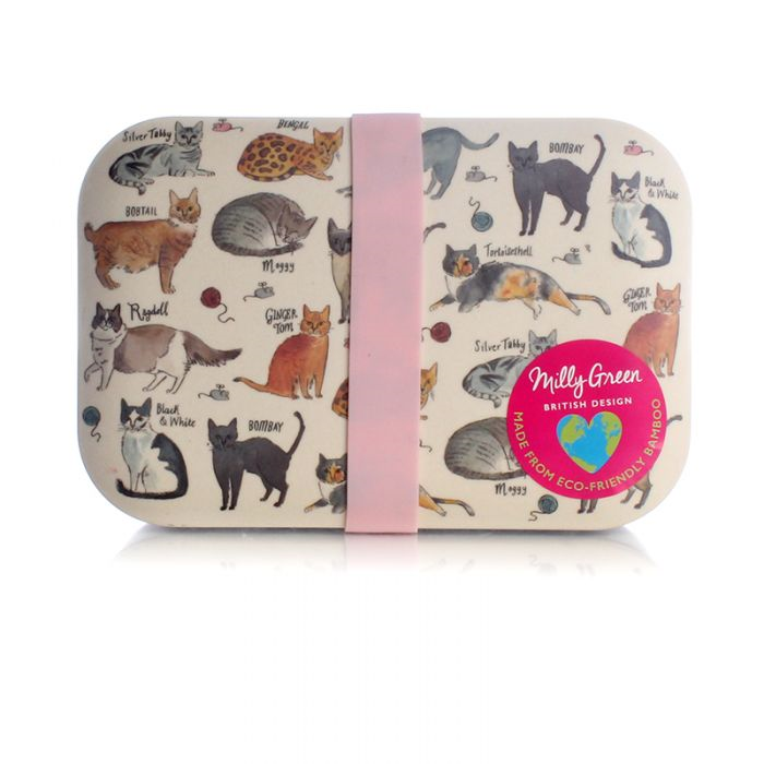 Milly Green Curious Cats Lunch Box Eco Bamboo Fibre