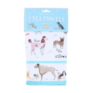 Milly Green Debonair Dogs Tea Towels Set of 2