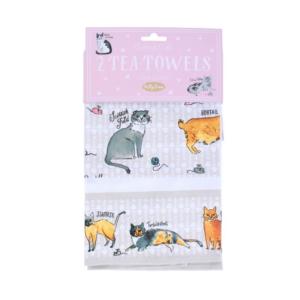 Milly Green Curious Cats Tea Towel Set of 2