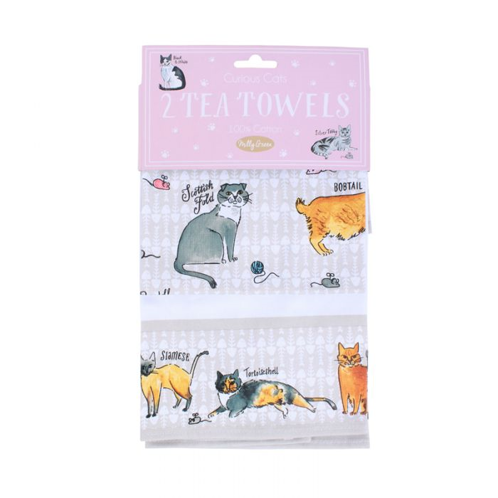 Milly Green Curious Cats Tea Towel Set of 2