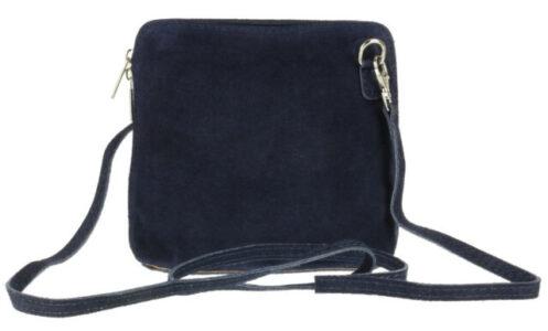 Vera Pelle Navy Suede Shoulder Bag
