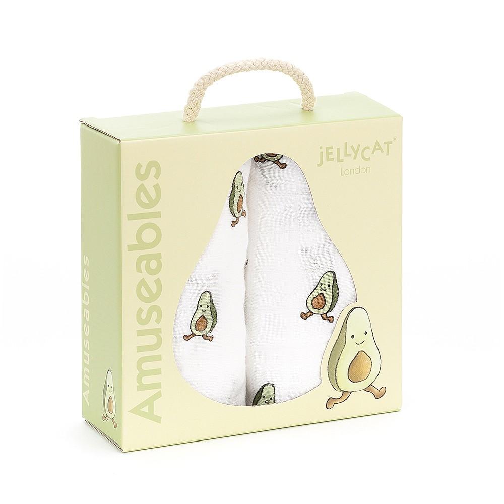 Jellycat Amuseable Avocado Pair Of Muslins