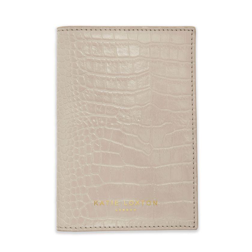 Katie Loxton Celine Faux Croc Passport Holder Oyster Grey