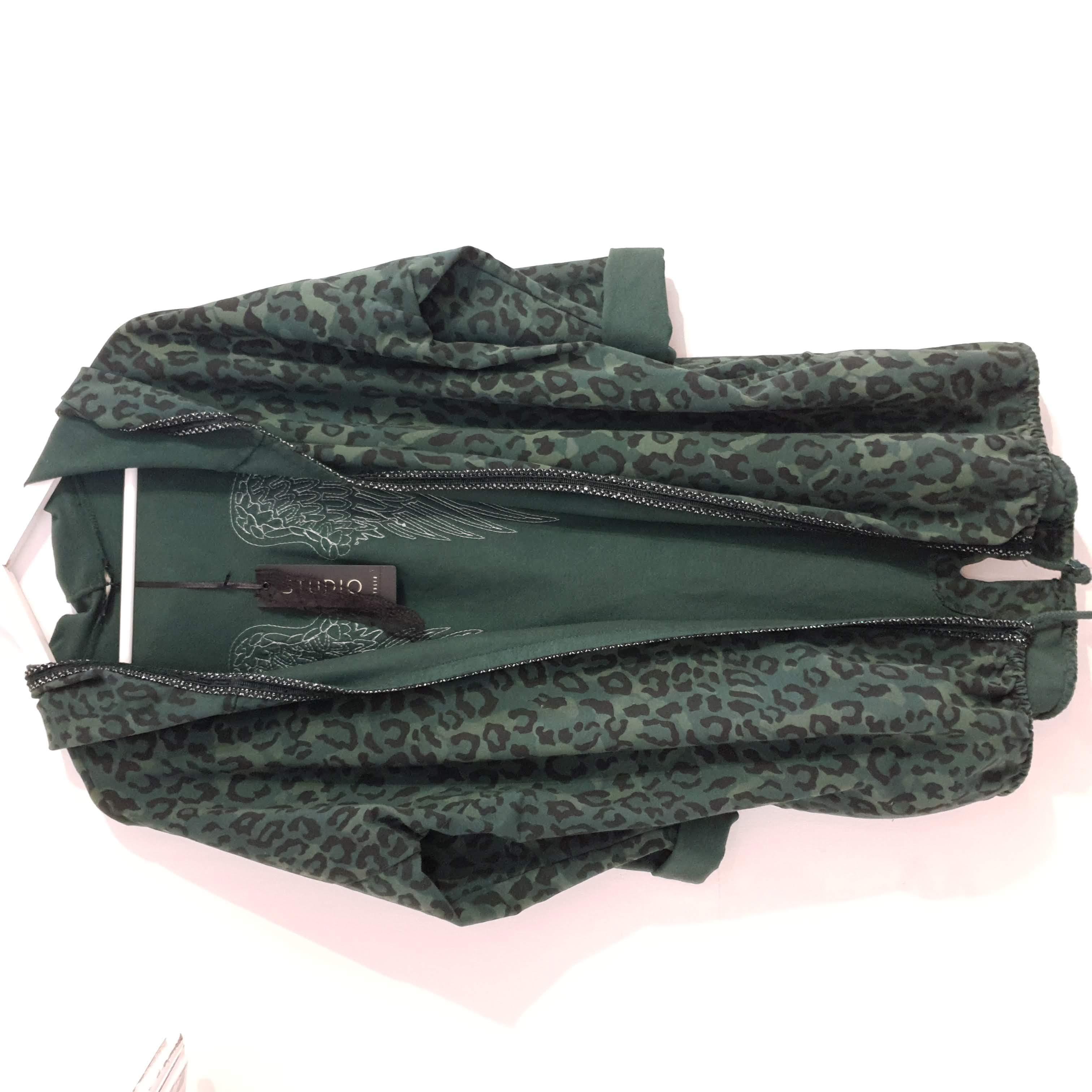 Studio Dark Khaki Leopard Print Sequin Back Hoodie