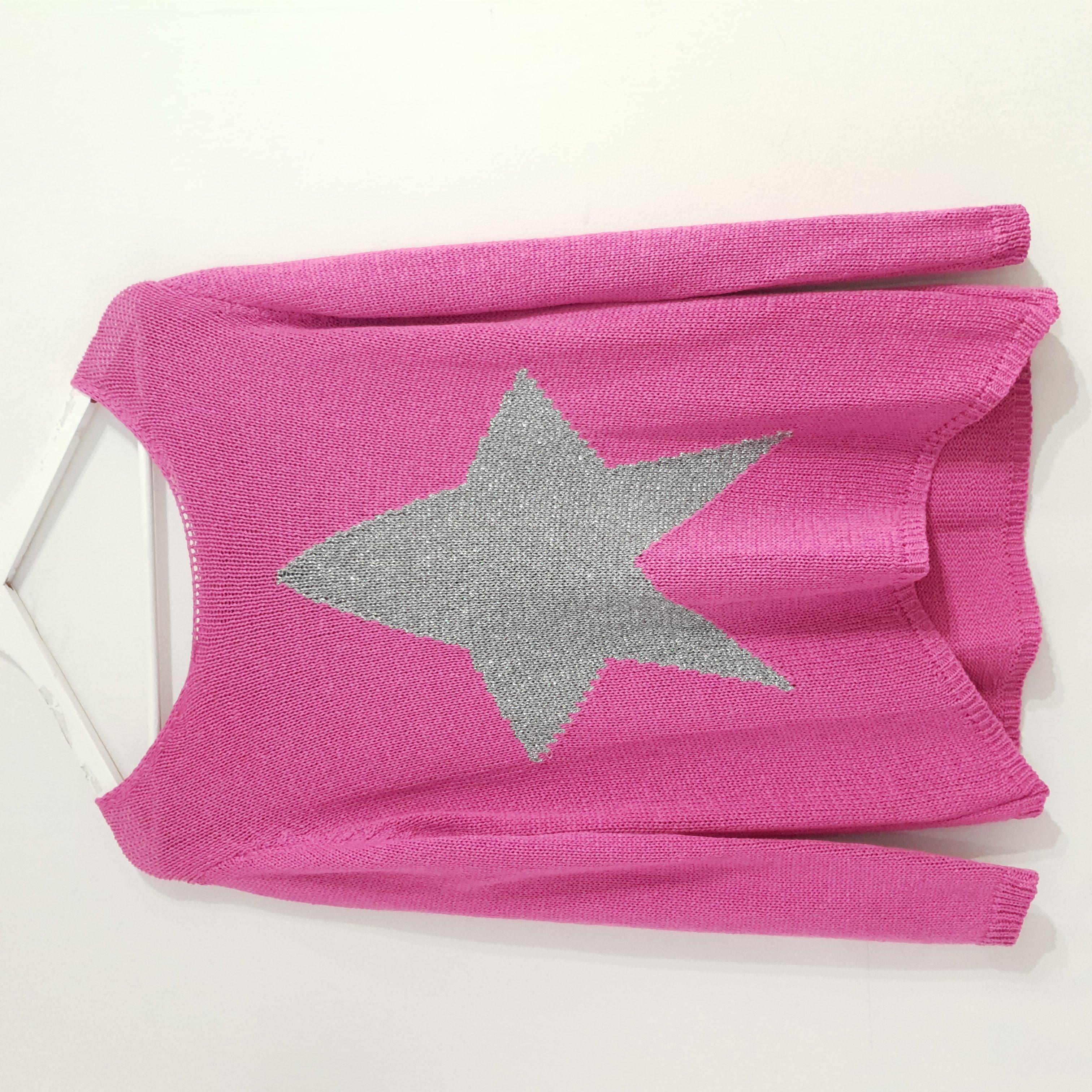 Studio Hot Pink Star Crochet Knit Jumper