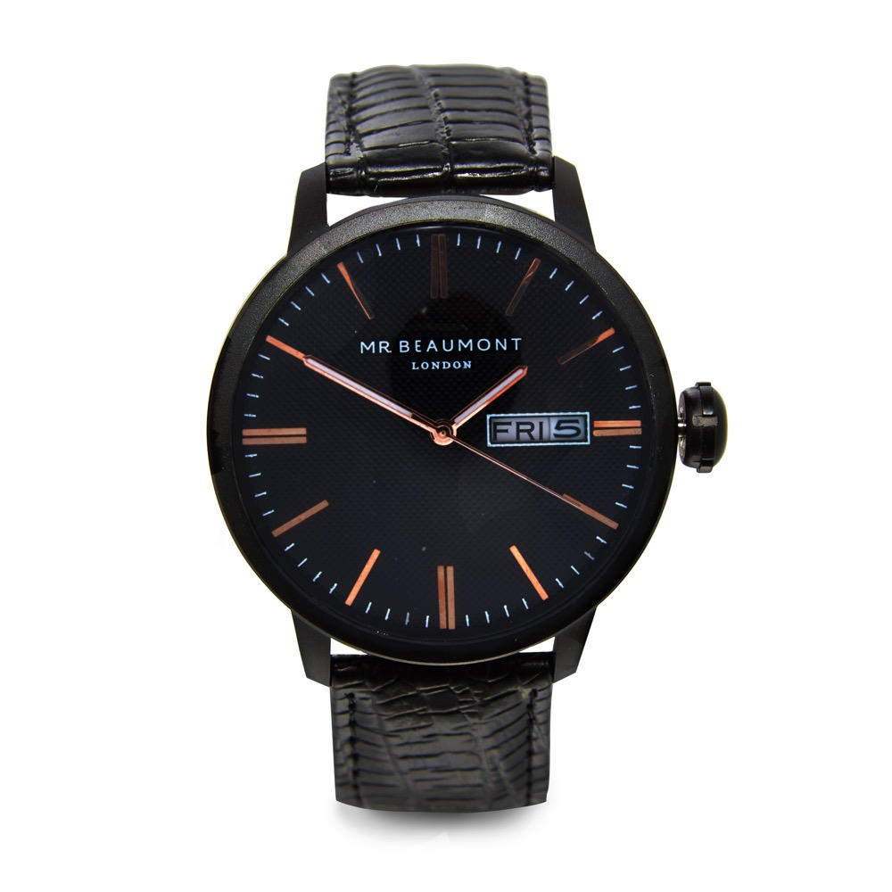 Mr Beaumont Black Leather Snakeskin Watch