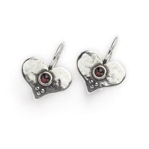 Aviv Sterling Silver Garnet Heart Earrings