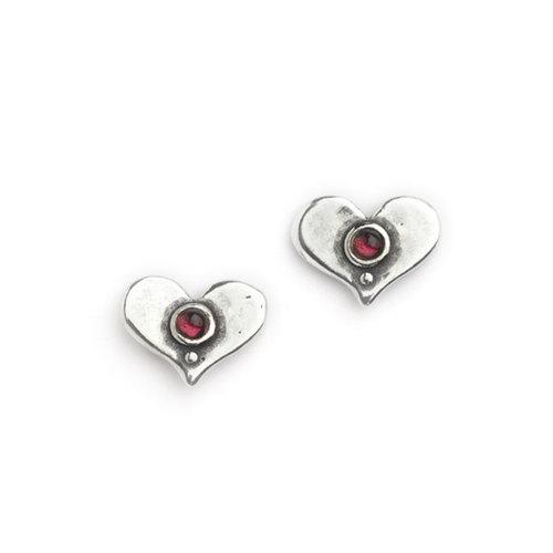 Aviv Sterling Silver Garnet Heart Studs