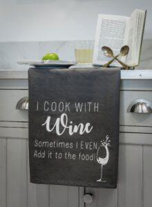 Retreat Grey Cook with Wine Tea Towel