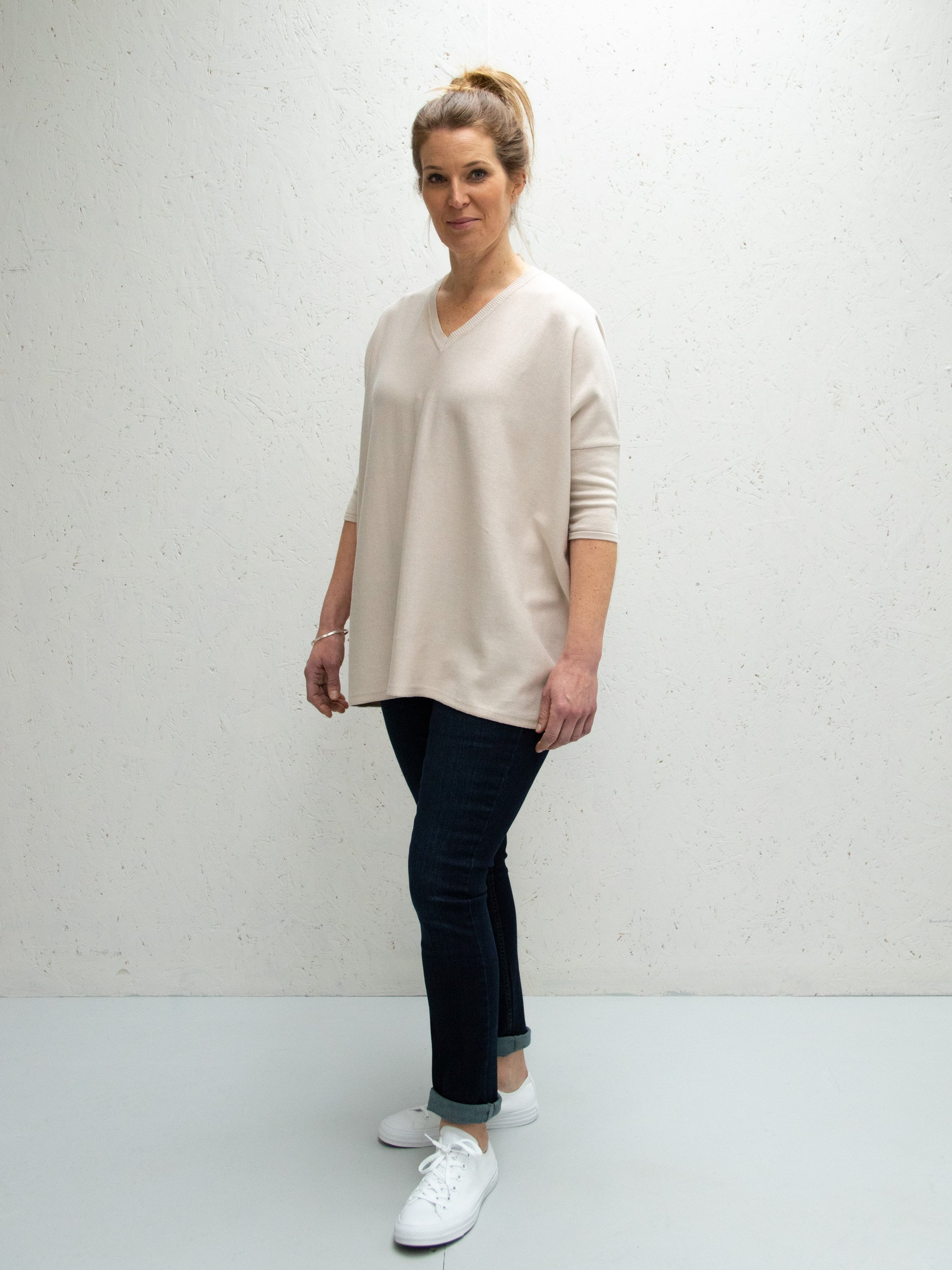 Chalk clara v neck jumper in light stone