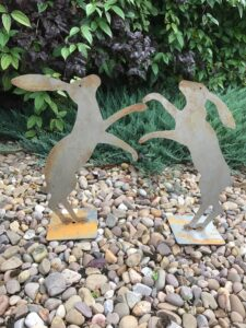 Poppyforge Boxing Hares Ready to Rust Standing